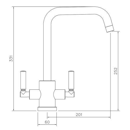 Abode Atlas Quad Twin Lever Monobloc Kitchen Tap