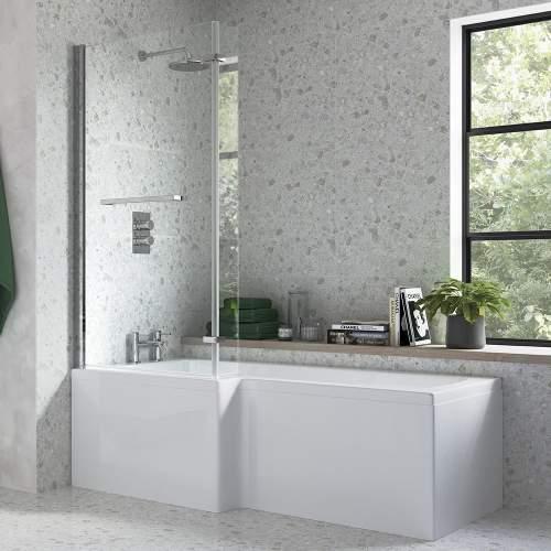 Bluci L Shape Shower Bath Bathroom Suite